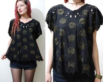 80s Vintage CUT-OUT Top EMBROIDERED T-shirt Black Gold Metallic Floral Rose Cap Sleeve Blouse Bohemian boho Hippie 1980s vtg M L
