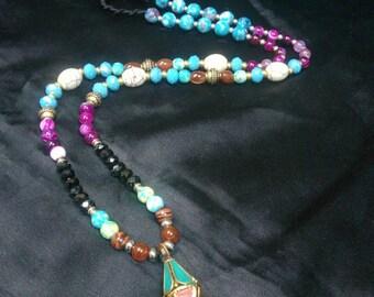 Long mala, spiritual beads necklaces.