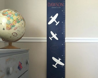 airplane theme children's growth chart, Planes, Personalized canvas growth chart, for boys