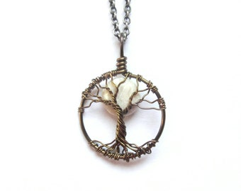 Tiny Riverstone Moon Tree of Life Necklace with White Gemstone moon,