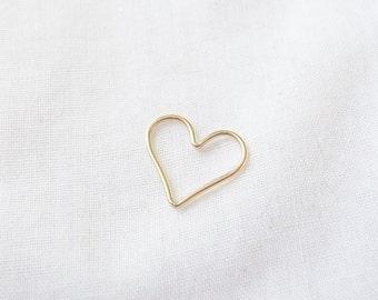 14k Gold Filled Open Heart Charm, 15x14mm, Love, Heart Connector