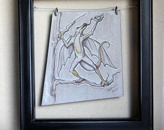 Mini Monsters Series, LIzard, flying, Cartoon, Monster, Sketch, dragonfly, Wings, Gray, Pen and Ink, Wall Hanging
