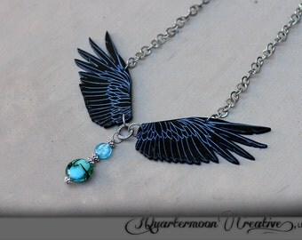 Black, Raven, Wings, Acrylic Laser Cut, Statement Necklace, Goth, Fantasy, Steampunk, Tribal, Engraved, Beaded, Silver, Blue