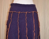 Upcycled sweater skirt....aubergine.....wool....size small....