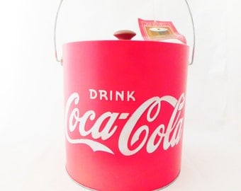 Coca-Cola Ice Bucket, Red Ice Bucket,  Galvanized metal with insulated plastic liner, Barware