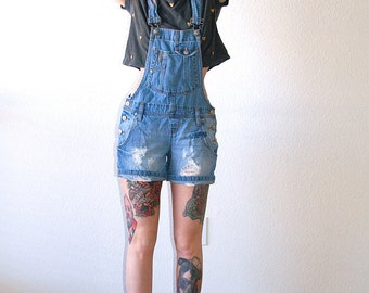 PERFECT FIT Distressed Hipster Denim Shortfalls Jean Overalls Shorts // Women's Small XS S