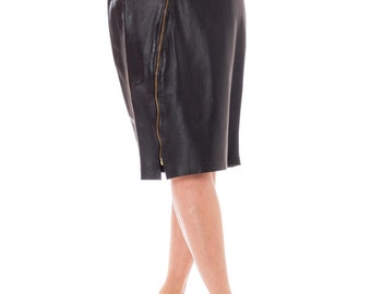 1980s Black Leather Biker Chick High Waisted Pencil Skirt With Diagonal Zipper Size: S