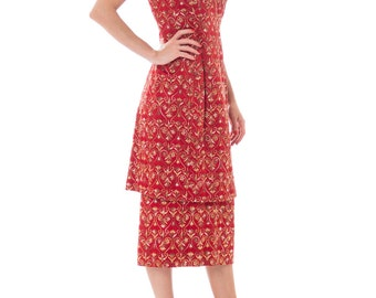 1950s60s Red Silk Gold Brocade Embroidered Shift Dress  Matching Underskirt