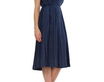 Vintage 1950s Blue Sleeveless Pleated Silk Midi Dress Size: XS/S