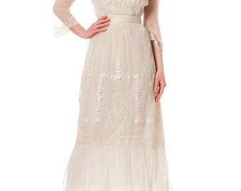 1920s Handmade Mixed Lace and Embroidery Bridal White Dress SIZE: XS, 2