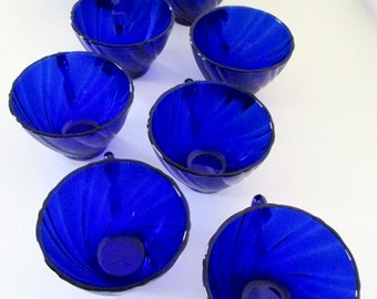 French Duralex Cobalt Blue Glass Coffee Cups - Set of 8