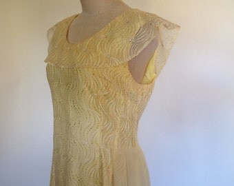 60s pale buttery yellow full length gown with rhinestones, sparkle & sailor style collar