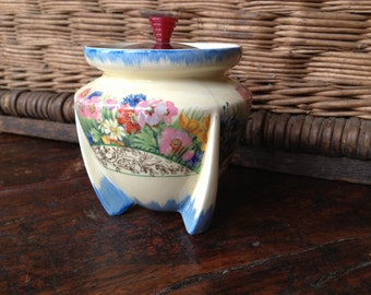 Art Deco Clarice Cliff Sugar Bowl, Staffordshire England, Handpainted Florals, Preserve Jar with Lid, Unusual Bomb Shaped Design