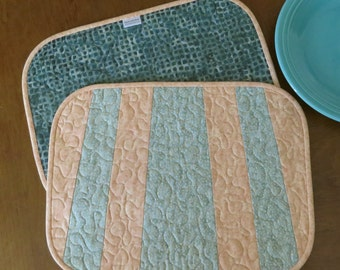 Quilted Dinette Placemats Peach Seafoam Bistro 486