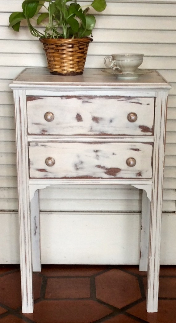 white shabby chic nightstand end table 1940s by. Black Bedroom Furniture Sets. Home Design Ideas