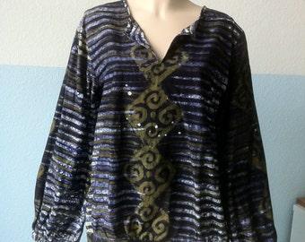 Vintage 70s Handmade Psychedelic Batik Hippie Blouse Top