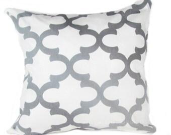 "Gray Pillow.Grey Pillow.Gray Chain link Pillow-.16"",17"",18"",20"" 24"" 26"", Lumbar Pillow or Euro Sham"