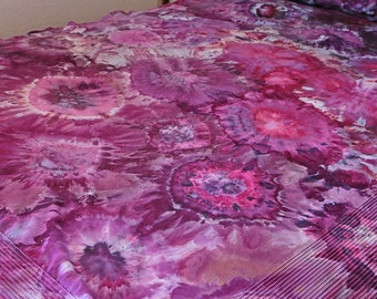 Duvet Cover  And Pillow Sham Set, Purple Ice Dyed 400 Thread-Count 100-Percent Egyptian Cotton Sateen, Tie Dyed, Made To Order