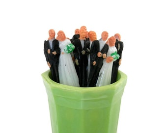 Set 8 Bride and Groom Toothpicks by Amscan Vintage MCM Wedding Decorations