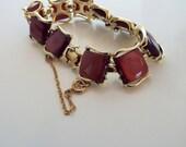 Coro Signed Deep Purple Thermoset Goldtone Bracelet