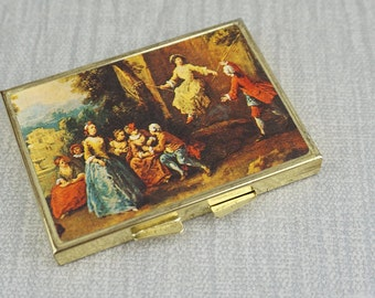 1970s Gold Toned Baroque Print Pocket Compact Double Mirror