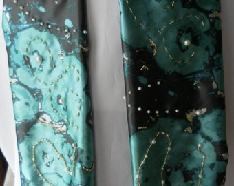 Jade marble satin hand beaded scarf