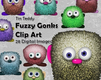 Fuzzy Gonks Clip Art 28 digital images of gonks in different colors  furry monster images toon gonks clipart