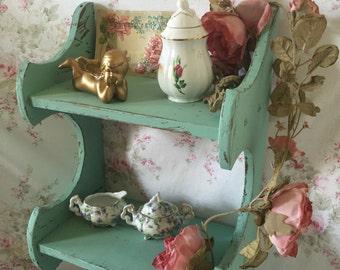 Vintage shelf - Shabby Chic Shelf - Painted Shelf - Double shelf - Wall shelf - Seaglass green shelf