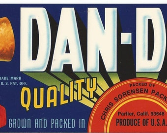 Vintage DAN-DEE-O California Fruit Crate Label