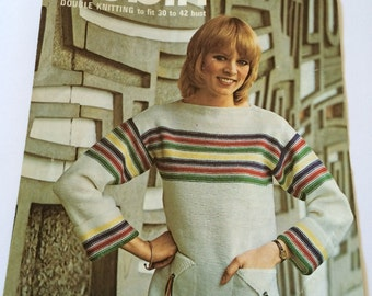 Robin 2577 1970s vintage knitting pattern boat neck sweater