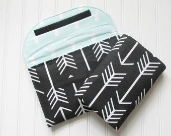 Arrow Diaper Clutch inBlack and Mint Deer with Matching Changing Pad Diaper Bag Travel Pad