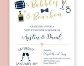 Bed, Bath, Bubbles & Bourbon! Couple's Wedding Shower Invitation