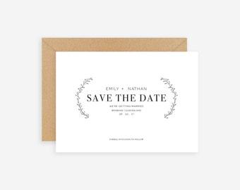 Save the Date Minimal - Customisable -  Wedding Invitation Rustic Custom Personalised Kraft Simple Elegant