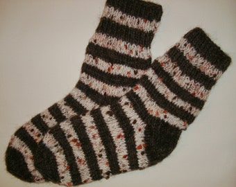 Hand Knitted Wool Socks -Colorful Socks for Women - Size Large-US W10-10,5,EU42