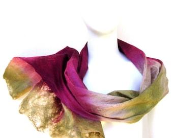 Cobweb Felt Scarf Australian Made Burgundy Plum Wool Silk