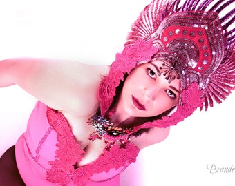 Pink,High fashion,costume,Burlesque,headpiece,headdress, Bodysuit,Leotard,Wings,crown,Performance,Runway