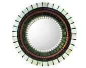 Wall Mirror, Mosaic Mirror, Round Mirror, Bronze Green Brown, Accent Mirror