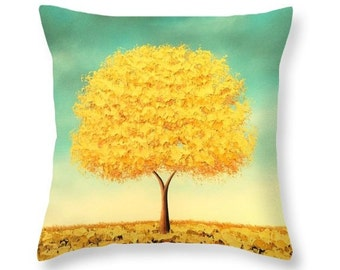 Yellow Tree Pillow, Throw Pillow, Yellow and Blue Living Room Decor, Decorative Pillow Cushion, Couch Pillow, Gold Tree Bedroom Pillow