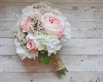 Silk Wedding Bouquet, Silk Flowers, Silk Flower Bouquet, Wedding Bouquet, Bridal Bouquet, Pink Bouquet, Baby's Breath, Rustic Wedding, Blush