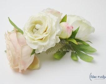 Silk Flower Hair Comb - Wedding Hair Comb, Silk Floral Hair Comb, Bridal Hair Comb, Wedding Hair Accessories, Pink, Blush, Boho, Wedding