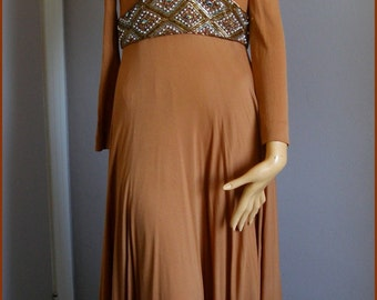 Vintage Jersey Knit Beaded Empire Waist Dress