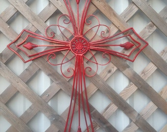 Large Red Wall Cross - Red Wall Hanging - Christian Wall Decor