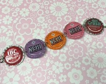 Kitschy Fun Pop Culture Soda Pop Bottlecap Upcycled Bracelet