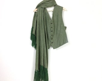 Scarf and Vest Set - Vintage Green Wool Outerwear Size Medium
