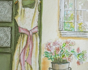 """ORIGINAL watercolor and ink painting, NOT a print. """"Faded Memories"""""""