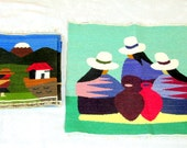 Vintage Peruvian Folk Art Hand Woven Wool Wall Hangings Two (2)