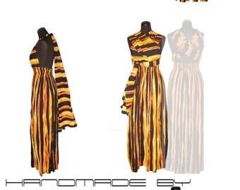 Long  stripe summer cotton dress,Convertible Maxi Dress