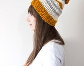 Chunky Knit Hat, Striped Knit Hat, Slouchy Beanie, Unisex Hat, Hat with Pom Pom | The November Hat