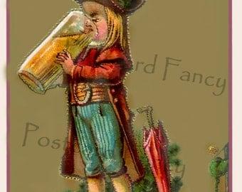 Antique Trade Card, Boy drinking beer, Instant Digital Download