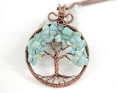 Light Blue Amazonite Tree-Of-Life Pendant Copper Wire Wrapped Necklace Wired Copper Jewelry Amazonite Pendant Gemstone Necklace Rustic Boho